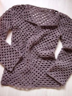 If can make a granny square you could follow this. Pictures only but showing layouts for front, back and sleeve construction.