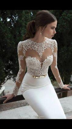 dress white white gown lace off-white white dress lace dress pencil skirt white…