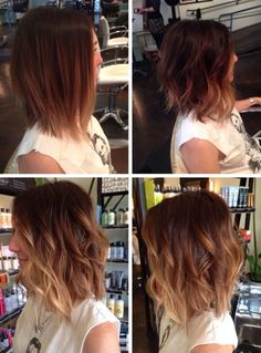 Short brown hair with highlights ombré