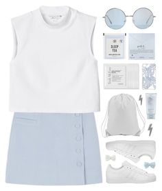 """""""Time Flies"""" by tania-maria ❤ liked on Polyvore featuring CO, Dogeared, Estée Lauder, Trish McEvoy, Monki, adidas and Decree"""