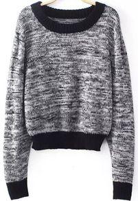 Grey Long Sleeve Crop Knit Sweater