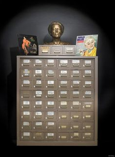 Phyllis Diller used this gag file throughout her career to organize and store her jokes. The drawers are filed into categories based on the subject of the jokes inside.