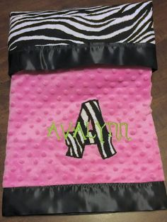 Zebra Baby Blanket with Hot Pink Minky  Includes by LeftHandedLady, $49.00