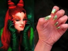 This video demonstrates how to make nail art inspired by the character Poison Ivy. You'll need a nail file, three non-fabric Band-Aids, scissors, toothpicks, green metallic and gold nail polish, and top coat. First file nails into a square shape. Cut each Band-Aid in half. Paint over entire nail with metallic green and let dry. Cover the lower part of the nail with the Band-Aids, and paint the tips with metallic gold polish, let dry, and remove Band-Aids. Create a vine design on each nail by…