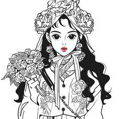 #illustration#ink#sketch#drawing#イラスト#red#그림#일러스트 Sketch Inspiration, Character Inspiration, Character Art, Character Design, Beauty Illustration, Character Illustration, Anime Korea, Fantasy Drawings, Cute Doodles
