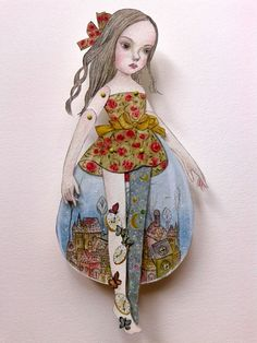 """OOAK Original Hand Painted Paper Doll - """"Season Change"""", hand drawn,articulated doll,Surreal Town,Butterflies,Clock,Snow,Stars,Rocks by GentlyEthereal on Etsy"""