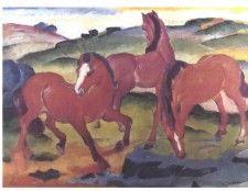 Weidende Pferde (Die roten Pferde) - Franz Marc  - Gemälde Reproduktionen in Premium Qualität auf paintify.de #paintify #Kunst #Dekoration #Franz_Mark #shopping #handgemalt  #Gemaelde #Oelgemaelde #Foto  #Reproduktionen #Alte_Meister #Geschenk #personalisierte #Geschenke #Geschenkidee #Geschenkideen #historisch #Tiere #Animals #Pferde #Pferd