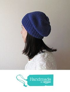 Royal Blue Slouchy Hat, Hand Knit Chunky Slouch Hat, Women Knit Hat, Wool Blend Hat, Seamless Winter Beanie, Gift for Her, Made to Order from NaryaBoutique https://www.amazon.com/dp/B01M5BJHRG/ref=hnd_sw_r_pi_dp_ny.bybCEJNFG9 #handmadeatamazon
