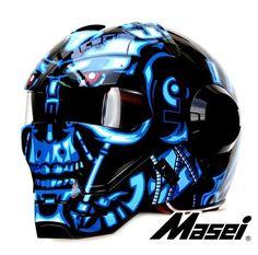 Masei Blue War Machine 610 Motorcycle Harley Chopper Helmet size M #Masei
