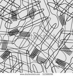 cutlery black & grey outline seamless pattern