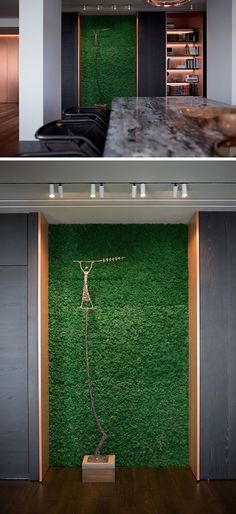 This modern apartment has a copper-lined, built-in bookshelf, and an alcove that's home to a sculpture with a backdrop of a moss wall. #Copper #Bookshelf #InteriorDesign
