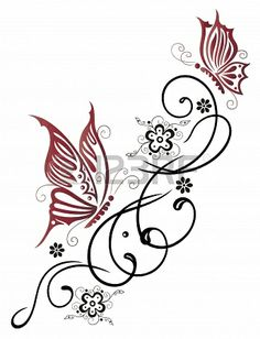21684004-feminine-filigree-tribal-with-flowers-and-butterfly.jpg (344×450)