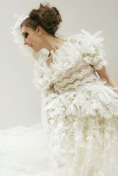 Dreamy white feather dress with decorative lace and crystal embellishment; white on white fashion // Chanel Haute Couture