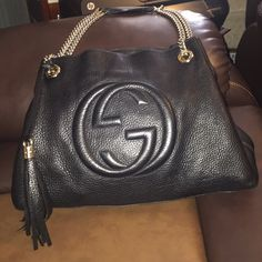 7389fea62f4b Black Gucci bag Authentic black Gucci leather shoulder bag with chain  straps still sold in stores for $1650 plus tax ❌❌no trades please don't ask  ...