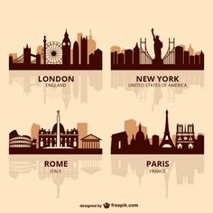 World capitals skyline vector Free Vector