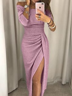 Shop Shiny Off Shoulder Ruched Thigh Slit Dress – Discover sexy women fashion at IVRose Sexy Dresses, Evening Dresses, Casual Dresses, Fashion Dresses, Fashion Clothes, Work Dresses, Bodycon Fashion, Elegant Dresses, Dress Outfits