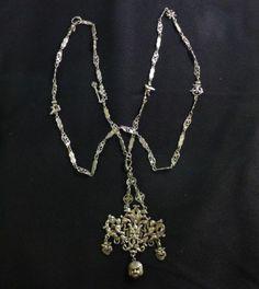 Vintage Coppini Peruzzi Itallian Renaissance Revival 800 Silver Necklace Gothic