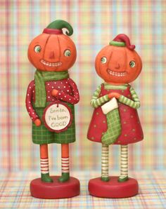 Folk Art Paperclay Pumpkin Christmas dolls the by jenenemortimer, $115.00