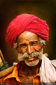 Portrait Of An Old Indian Worker With A Magenta Turban. in Digital Art by Nitin Bharade Steve Mccurry, Painting People, Drawing People, Portrait Art, Portrait Photography, Beatles, James Bond Auto, National Geographic, India Painting