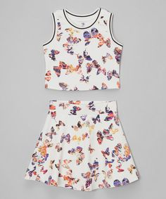 Another great find on #zulily! White Butterfly Top & Skirt - Girls #zulilyfinds