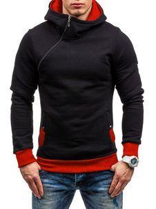 0a2b258344 Sudadera con capucha de algodón mezclado Encapuchada de color-blocking  estilo informal. Sudadera con Capucha para Hombre ...
