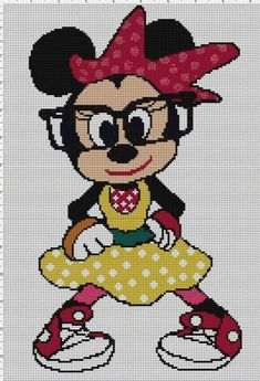 Minnie Mouse x-stitch Embroidery Disney Cross Stitch Patterns, Cross Stitch For Kids, Cross Stitch Baby, Cross Stitch Kits, Cross Stitch Designs, Disney Cross Stitches, Mickey E Minie, Minnie Mouse, Crochet Disney