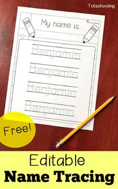 FREE personalized name tracing sheet for preschool and kindergarten. Can be edited to include any child's name. Great for kids learning to write their name, as well as kids who need more handwriting practice. kindergarten Editable Name Tracing Sheet Kindergarten Names, Preschool Names, Preschool Learning Activities, Kindergarten Classroom, Kids Learning, Preschool Printables, Preschool Activity Sheets, Preschool Binder, Free Preschool
