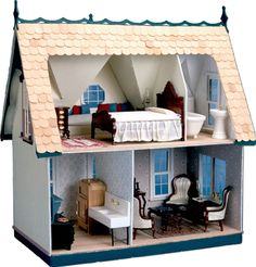 This unique turn of the century Victorian cottage has ornate trim, fixed double-hung style windows, octagon shaped dormer windows, and a bay window. Each floor has a divider wall that can be placed Cabin Dollhouse, Dollhouse Kits, Wooden Dollhouse, Dollhouse Miniatures, Dollhouse Melanie, Victorian Dollhouse Furniture, Bathroom Furniture, Furniture Sets, Home Furniture