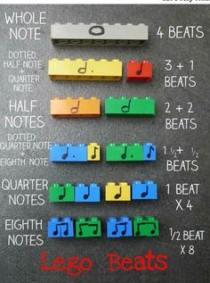 Lego is such a brilliant toy! Teachers often use it to teach maths and so it's also an excellent way to teach rhythm and notation with these lego beats music manipulatives. How To use Lego Music…More Lets Play Music, Music For Kids, Music Classes For Kids, Piano Lessons For Kids, Elementary Music Lessons, Elementary Schools, Preschool Music, Music Activities, Preschool Curriculum
