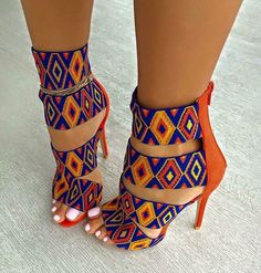 pattern orange blue multicolor heels high heels strappy heels colorful yellow shoes african print african style colorful shoes sandal heels print tribal pattern high heel sandals cute african cultural beaded look sexy