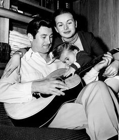 Paul Brinkman and wife Jeanne Crain with Junior, March, 1949