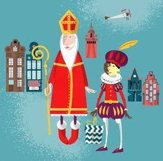 Stock vector, Sinterklaas en Piet