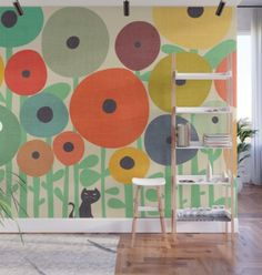 Inspiration for Gareth wall mural - huge florals - Cat in flower garden Wall Mural by budikwan from Deck Rug, Removable Wall Murals, Buy A Cat, Fabric Panels, Vibrant Colors, Happy Colors, Decor Styles, Wall Decor, Interior Design