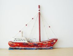 Red wooden sailboat two sided wooden Greek by ArktosCollectibles, $46.55