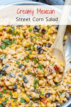 This Mexican Street Corn Salad is Creamy, has a bold flavor to it and very easy to make. It is the perfect side dish recipe that you can enjoy with any meal. A great addition to your table when you are entertaining and can be served warm or cold. via Corn Mexican Corn Side Dish, Taco Side Dishes, Mexican Street Corn Salad, Mexican Salads, Vegetable Side Dishes, Mexican Dishes, Side Dishes Easy, Side Dish Recipes, Food Dishes