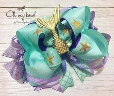 Colores e Ideas Kawaii Hairstyles, Diy Hairstyles, Mermaid Purse, Disney Hair Bows, Newborn Bows, Handmade Hair Bows, Boutique Hair Bows, Ribbon Hair Bows, Diy Bow