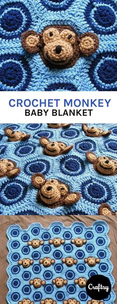 Crochet monkey baby blanket for boys. Colors can be adapted for girls. Get the pattern at Craftsy.