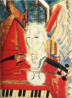 Homage to Mozart - Born on this day fauvist Raoul Dufy (French, Le violon, Oil on canvas, 55 x cm. Henri Matisse, Raoul Dufy, Georges Braque, Harlem Renaissance, Renoir, Art Fauvisme, Maurice De Vlaminck, Illustration Art, Illustrations