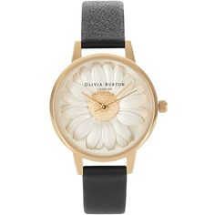 Olivia Burton Flower Show 3d Daisy Watch - Black & Gold ($185) ❤ liked on Polyvore featuring jewelry, watches, quartz movement watches, leather-strap watches, daisy flower jewelry, blossom jewelry and flower jewellery