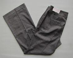 New Ann Taylor Loft Pants 8 Curvy Gray Black Plaid Glenplaid Trouser Dress #AnnTaylorLOFT #Curvy #Glenplaid #SaveonYourStyle