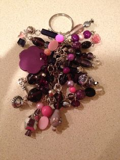 Purple beads, pink beads, silver chain, charms key chain on Etsy, $15.00