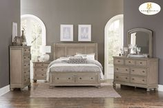 An updated classic addition to your transitional bedroom will be the Bethel Collection. Traditional accents, such as, turned bun feet that support each piece, and a gray, lightly wire-brushed finish on birch veneer and selected hardwoods, blend with framing and lines that compliment your personal style. Hidden drawer storages in the night stand and dresser are a clever way to hide your valuables