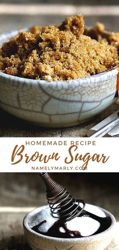 This homemade Brown Sugar is so easy to make! All you need is granulated sugar and molasses and you'll never run out of brown sugar again!   #brownsugar #homemadedessert #namelymarly Vegetarian Casserole, Vegetarian Breakfast Recipes, Vegan Dessert Recipes, Homemade Desserts, Sweet Desserts, Snack Recipes, Best Cake Recipes, Delicious Vegan Recipes, Sweet Recipes