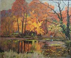 Autumn woods near the lake par Albert Malet Woods, Autumn, Artist, Painting, Fall Season, Woodland Forest, Artists, Painting Art, Fall