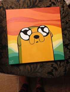 Adventure Time Painting Series: Jake the Dog - - Art Drawings Simple Canvas Paintings, Easy Canvas Art, Small Canvas Art, Mini Canvas Art, Cute Paintings, Acrylic Canvas, Drawing On Canvas, Diy Canvas, Acrylic Paintings