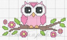 Cross Stitch Owl, Cross Stitch Animals, Cross Stitch Patterns, Baby Girl Owl, Baby Owls, Needlepoint Patterns, Perler Patterns, Beading Patterns, Owls