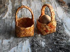 Plaited birch bark basket by BirchBirds on Etsy