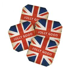 Embrace all things jolly good with these playful coasters—your drink, your company, and your style. With a lighthearted Union Jack print, they add a dash of Commonwealth charm to your get-togethers.  Find the Jolly Brit Coasters - Set of 4, as seen in the Christmas In London Collection at http://dotandbo.com/collections/christmas-in-london?utm_source=pinterest&utm_medium=organic&db_sku=92349