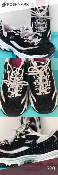 Skechers memory foam D'Lites sneakers 8.5 Used in good condition Skechers memory foam D'Lites sneakers 8.5 has bling on sides of the laces. Black and white super comfortable! Signs of wear but in great condition Skechers Shoes Sneakers