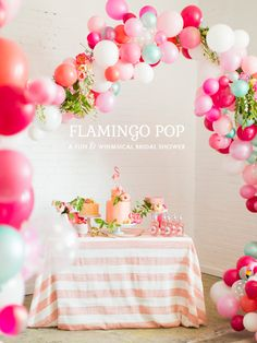 Flamingo Pop: a fun  whimsical bridal shower collaboration with BHLDN and The House that Lars Built . Photo by Jessica Peterson.